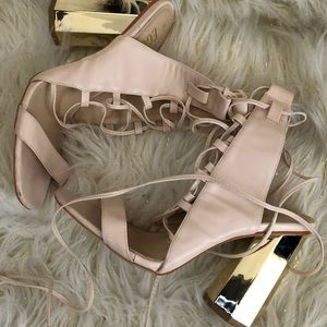 Ego, tan lace up chunky heel.